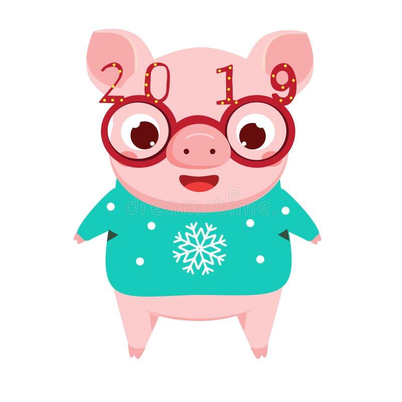 Kreskówki świnia, symbol chińczyk 2019 nowy rok w śmiesznych partyjnych eyeglasses ilustracji