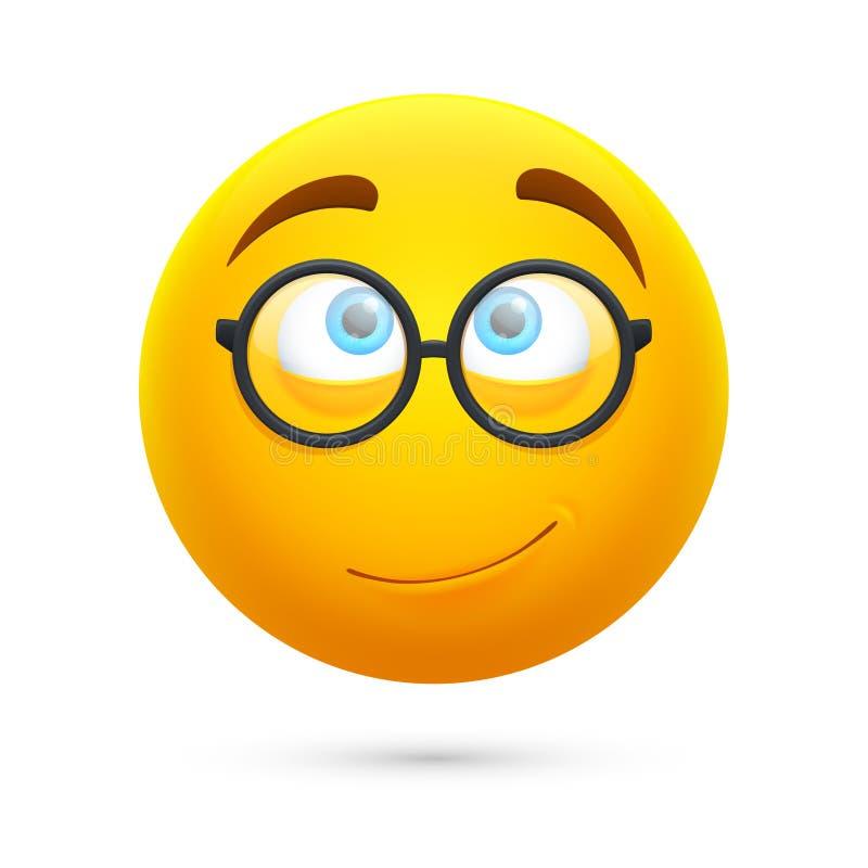 Kreskówki żółta 3d smiley twarz Ślicznej fajtłapy wektorowy emoji odizolowywający na białym tle royalty ilustracja