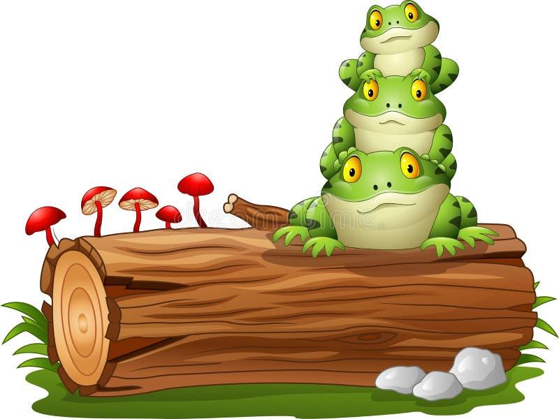 Kreskówki żaba brogująca na drzewnej beli royalty ilustracja