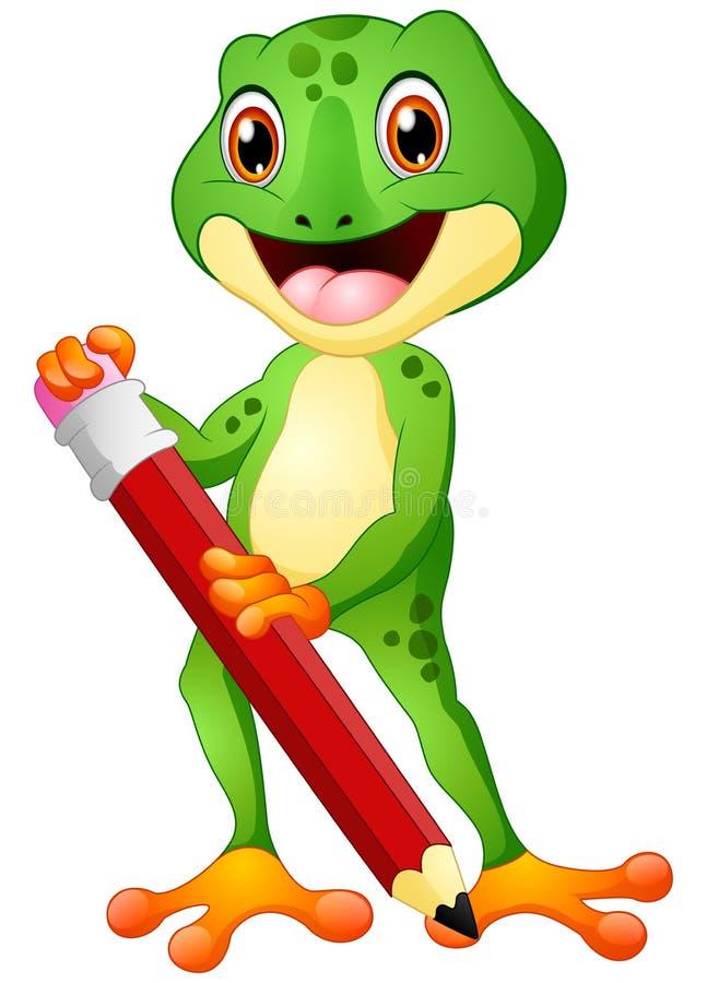 Kreskówki żaba trzyma ołówek ilustracja wektor