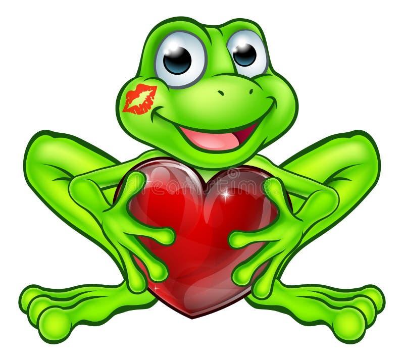 Kreskówki żaba z buziaka i miłości sercem royalty ilustracja