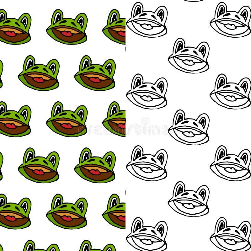 Kreskówki żaby projekta bezszwowy deseniowy set ilustracji