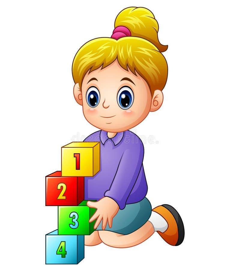 Kreskówki żeński bawić się z numerowymi sześcianami ilustracja wektor