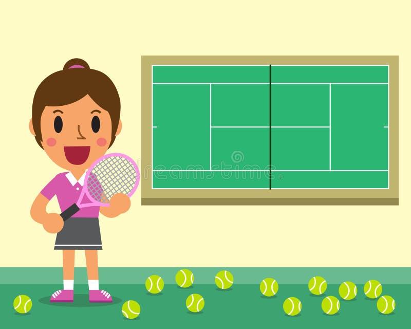 Kreskówki żeński gracz w tenisa i sądu szablon ilustracja wektor