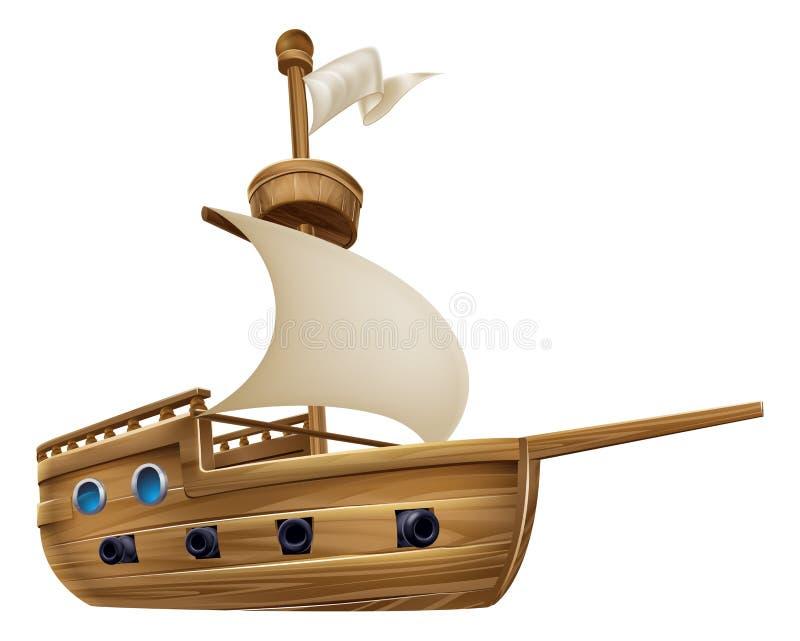 Kreskówki żeglowania statek ilustracja wektor