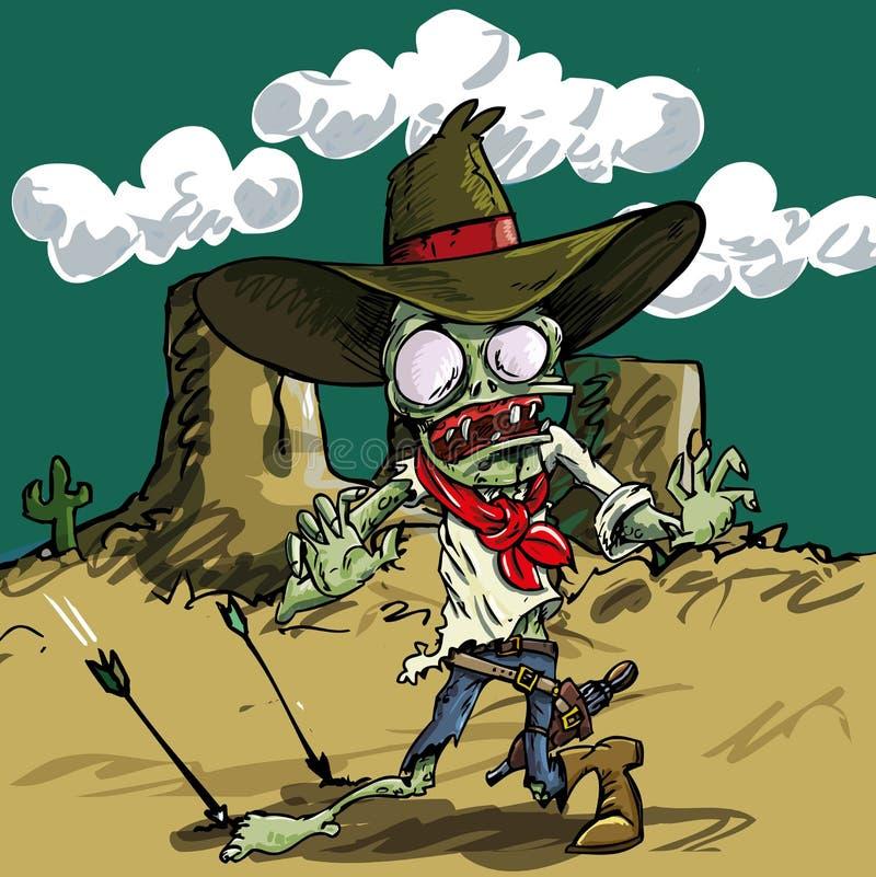 Kreskówki żywego trupu kowboj z zieloną skórą royalty ilustracja