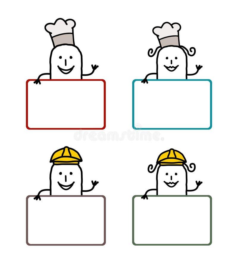 kreskówki 2 etykietki ilustracja wektor