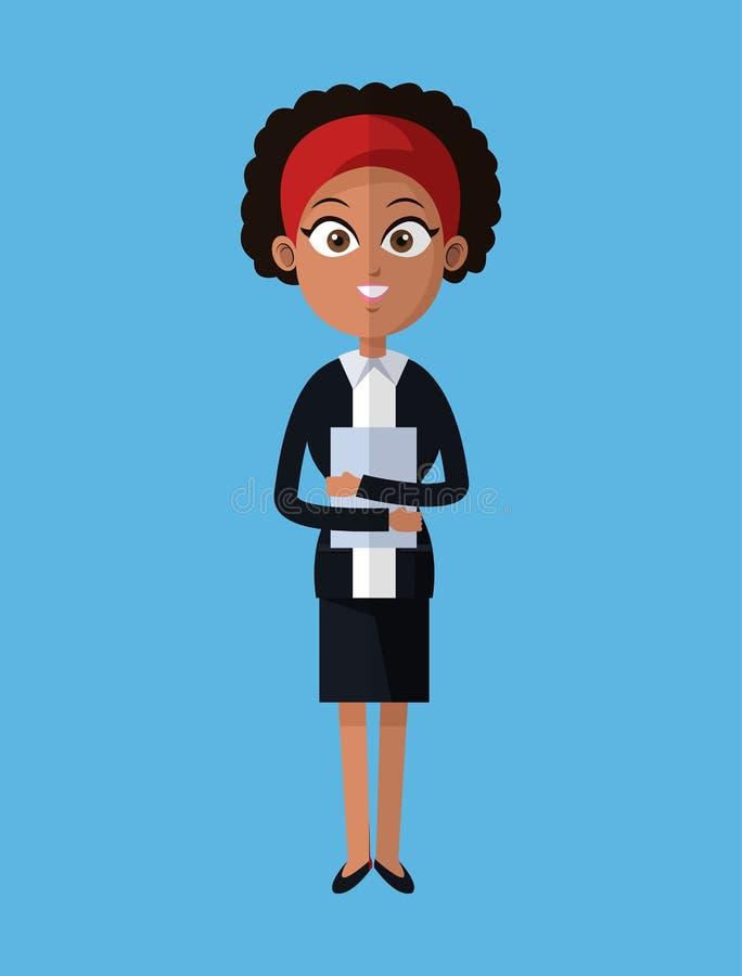 Kreskówki afro kobiety biznesowy przywódctwo z falcówką ilustracji