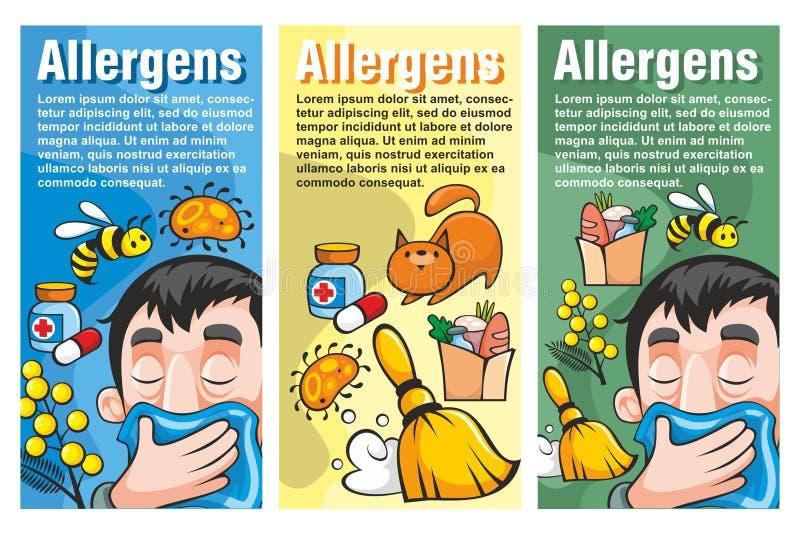 Kreskówki alergii Vertical Kolorowi sztandary royalty ilustracja
