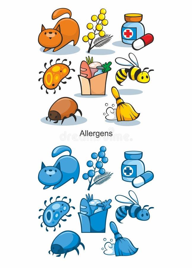 Kreskówki Allergen ikony Ustawiać ilustracja wektor