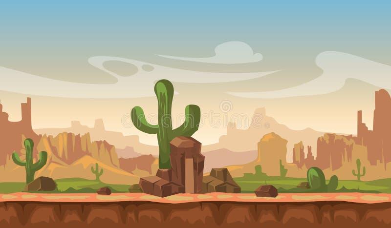 Kreskówki America prerii pustyni krajobraz z kaktusem, wzgórzami i górami, gemowy bezszwowy wektorowy tło royalty ilustracja