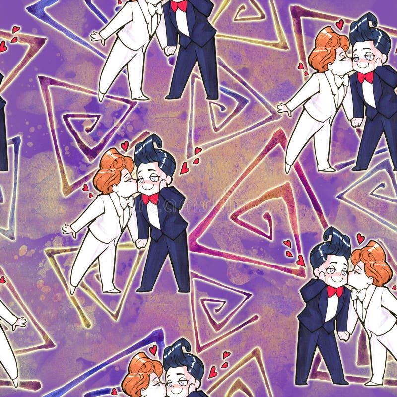 Kreskówki anime ilustracja Dwa szczęśliwego przystojnego mężczyzna, właśnie zamężna homoseksualna para ilustracja wektor
