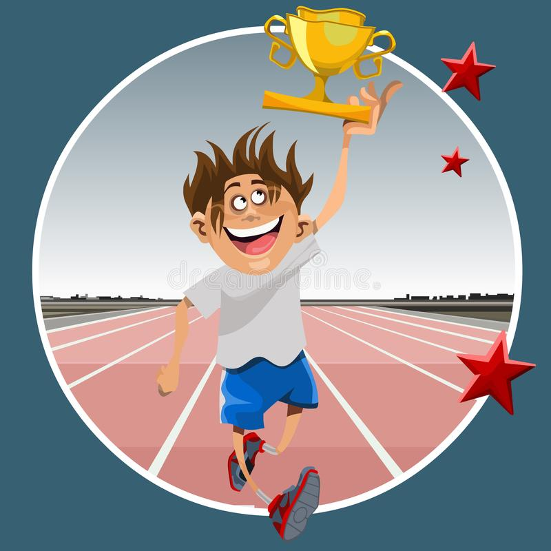 Kreskówki atlety męski bieg z nagrodzoną wygraną czara w ręce ilustracja wektor