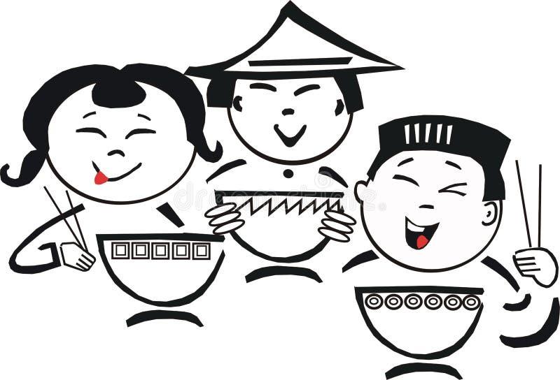 kreskówki azjatykci jedzenie royalty ilustracja