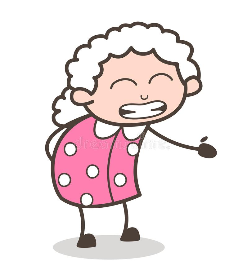 Kreskówki babci Dostawać Denerwuje twarz Wyrażeniowa Wektorowa ilustracja ilustracja wektor