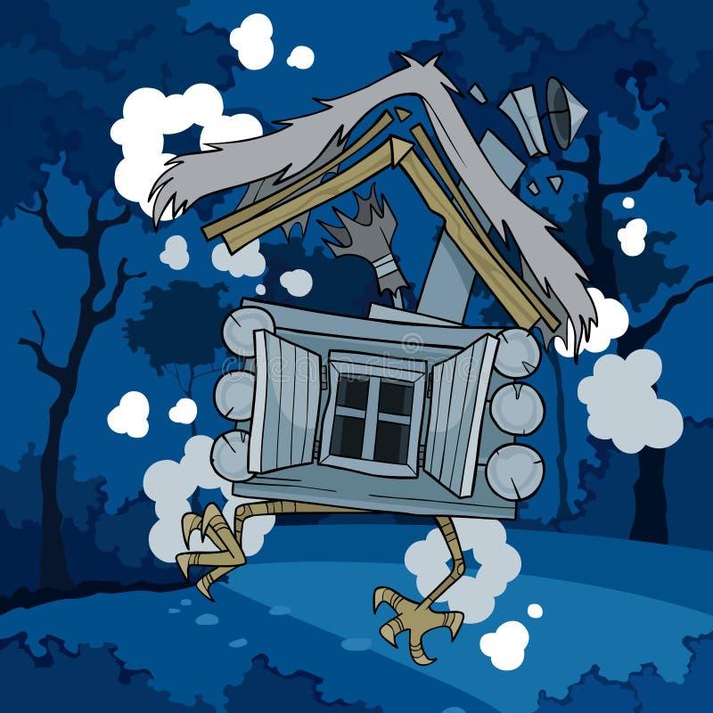 Kreskówki bajki dom na kurczak nogach w noc lesie ilustracji