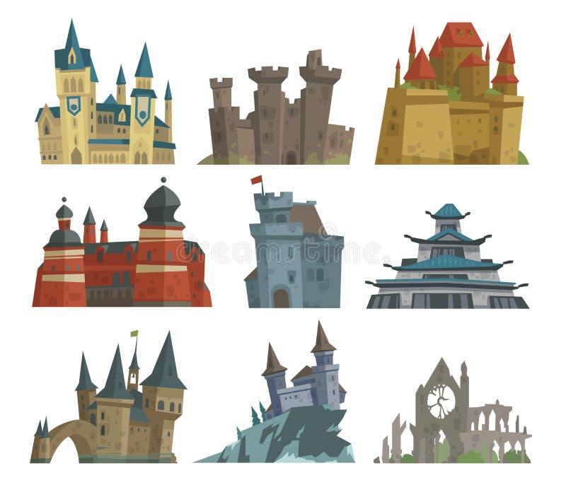 Kreskówki bajki kasztelu kamienia pałac wierza ikony scarry rycerza architektury budynku wektoru średniowieczna ilustracja royalty ilustracja