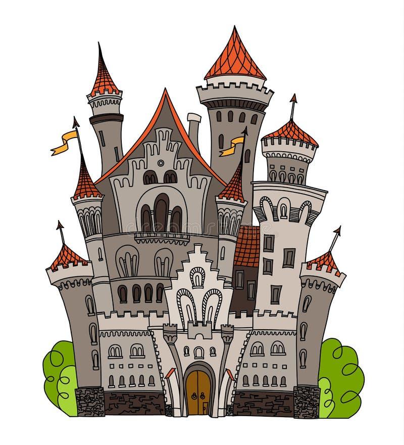 Kreskówki bajki kasztelu wierza ikona Śliczna architektura Wektorowa ilustracyjna fantazja domu bajka średniowieczna ilustracji