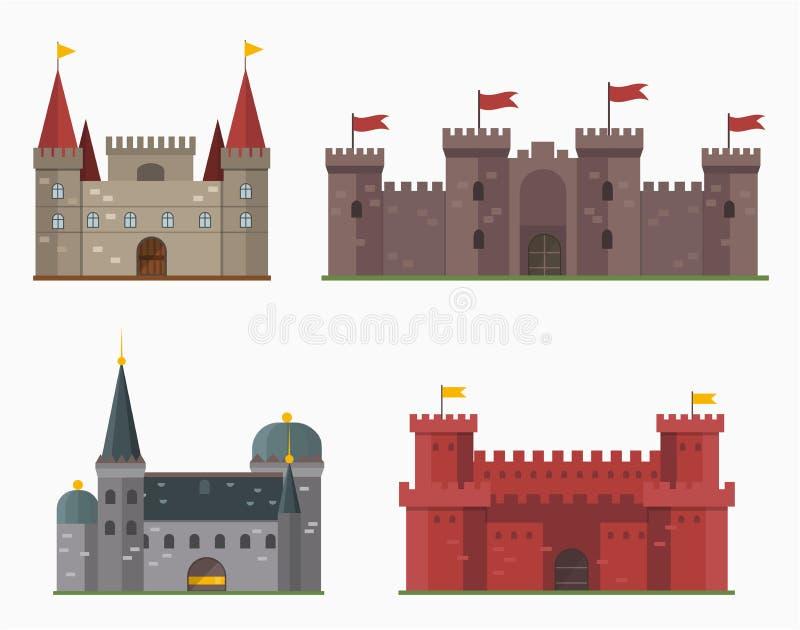 Kreskówki bajki kasztelu wierza ikony architektury fantazi domu śliczna bajka średniowieczna i princess fortecy projekt royalty ilustracja