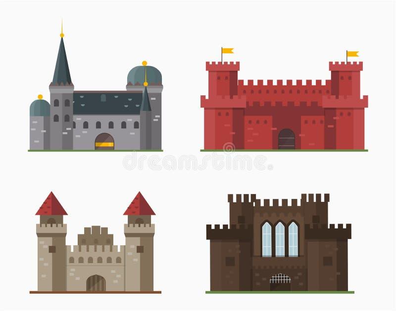 Kreskówki bajki kasztelu wierza ikony architektury fantazi domu śliczna bajka średniowieczna i princess fortecy projekt ilustracji