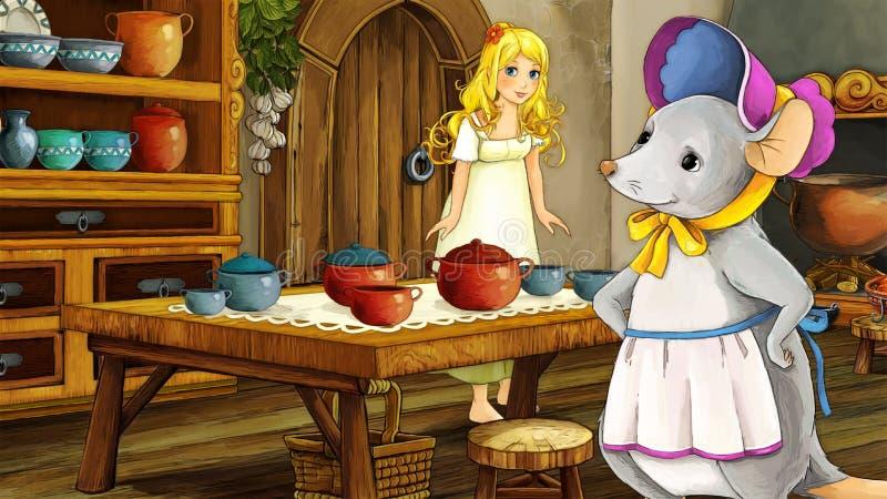Kreskówki bajki scena - ilustracja dla dzieci ilustracji