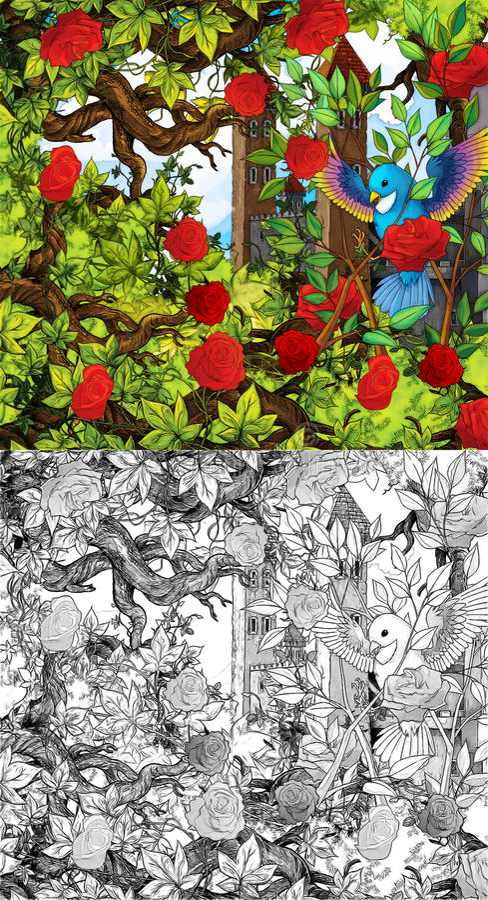 Kreskówki bajki scena - kolorystyki strona ilustracja wektor