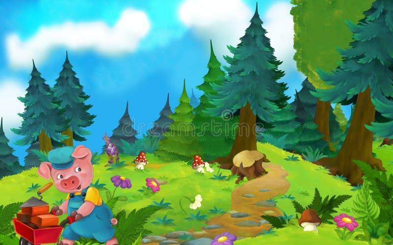 Kreskówki bajki scena z świnią na łące ilustracja wektor