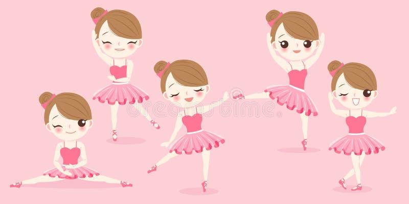Kreskówki baleriny dziewczyna royalty ilustracja