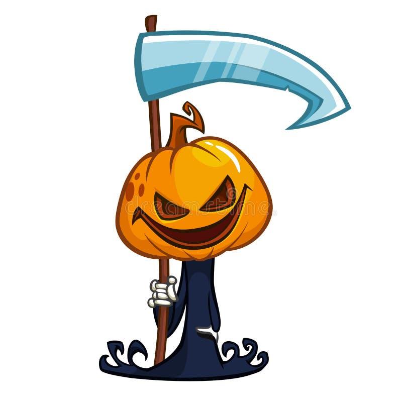 Kreskówki bani głowy śliczna ikona Wektorowa dyniowa żniwiarka z kosą odizolowywającą na bielu royalty ilustracja