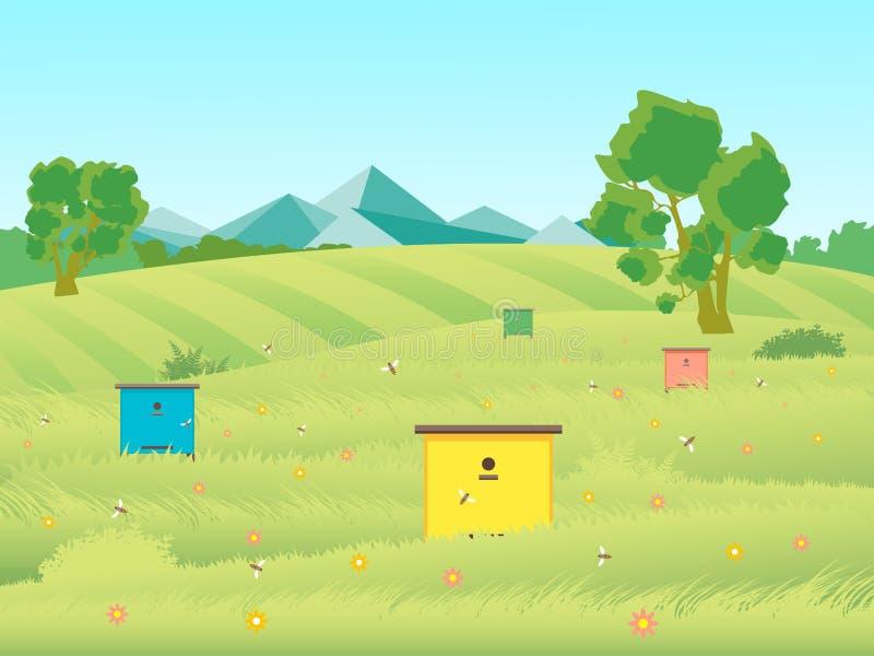 Kreskówki Beekeeping pasieki gospodarstwa rolnego ogródu krajobrazu tło wektor ilustracja wektor