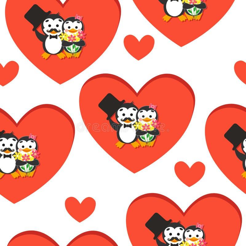 kreskówki bezszwowy deseniowy Pingwin z kapeluszem i kwiatami na serca tle ilustracji