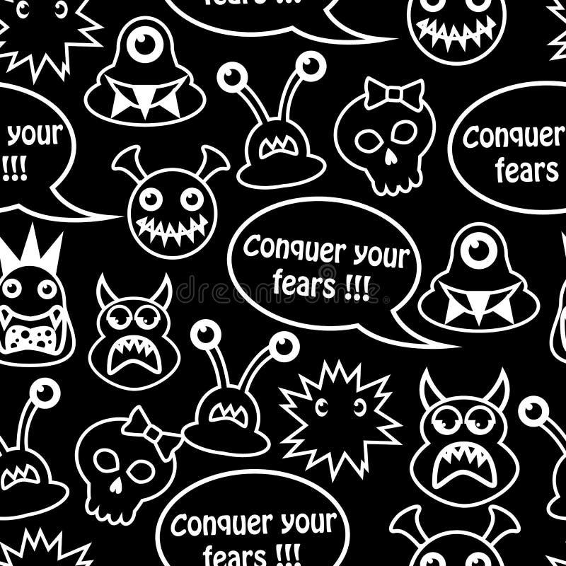 Kreskówki bezszwowy tło z potworami ilustracja wektor
