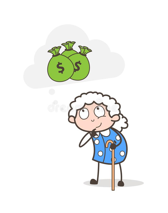 Kreskówki Biedna stara kobieta Myśleć o pieniądze wektoru ilustraci ilustracja wektor