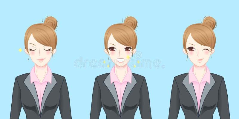 Kreskówki biznesowej kobiety odczucie ufny royalty ilustracja