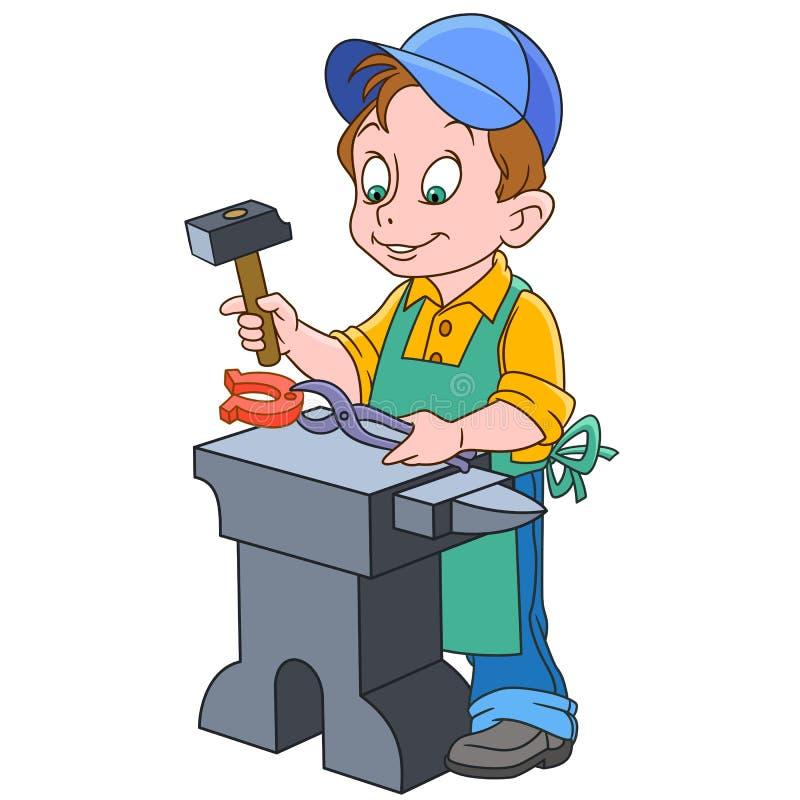 Kreskówki blacksmith pracownik ilustracji