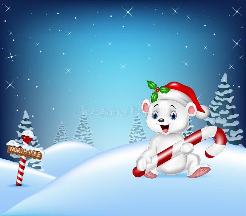 Kreskówki Bożenarodzeniowy tło z niedźwiedziem polarnym trzyma cukierek ilustracji