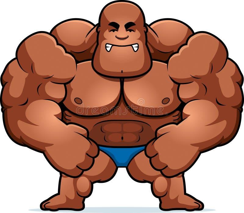 Kreskówki Bodybuilder Szalenie ilustracja wektor