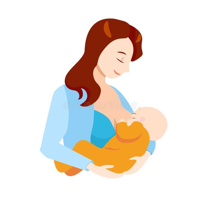 Kreskówki Breastfeeding pojęcia Macierzysty i Nowonarodzony dziecko wektor royalty ilustracja
