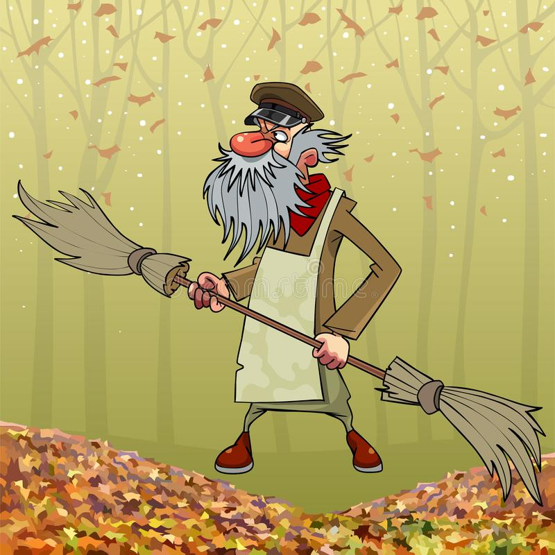 Kreskówki brodaty janitor z kopią popierał kogoś miotłę w jesień parku ilustracja wektor