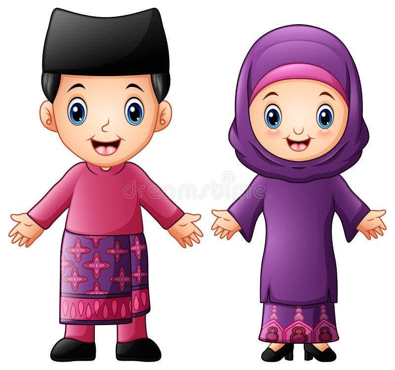 Kreskówki Brunei para jest ubranym tradycyjnych kostiumy fotografia royalty free