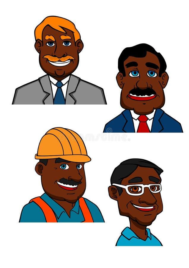 Kreskówki budowniczy, lekarka i biznesmeni, ilustracja wektor