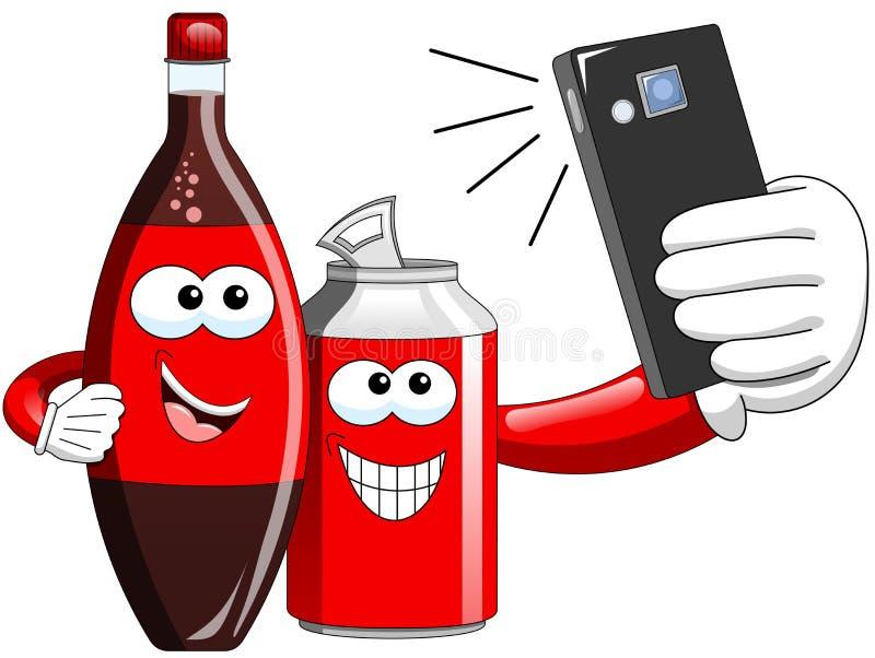 Kreskówki butelka i Może brać selfie ilustracja wektor
