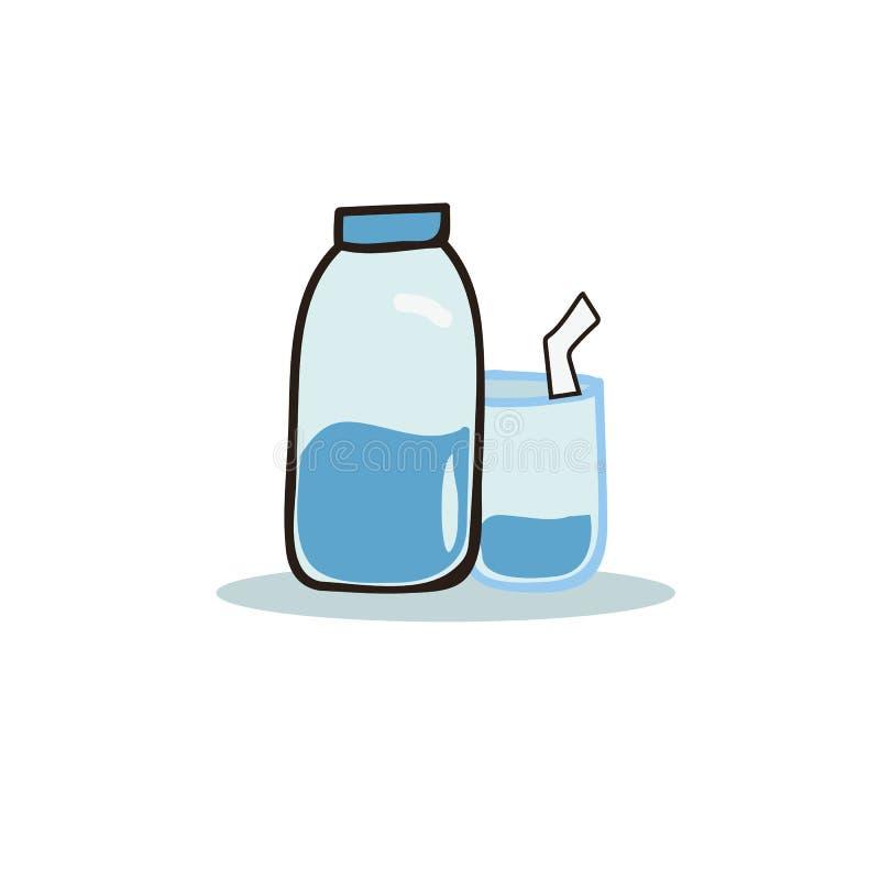 Kreskówki butelka woda i szkła wektorowi ilustracji