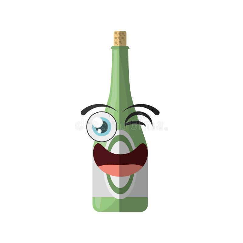 kreskówki butelki napoju przyjęcia mrugnięcie ilustracja wektor