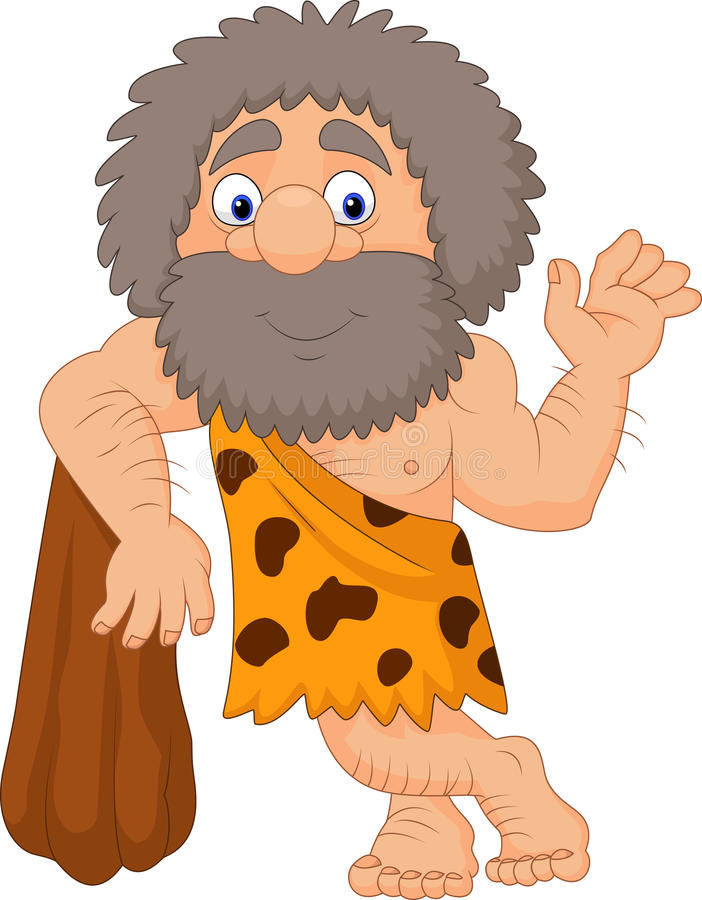 Kreskówki caveman falowania ręka ilustracja wektor