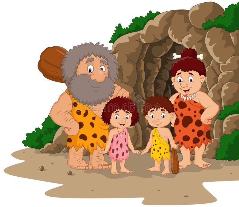 Kreskówki caveman rodzina z jamy tłem ilustracja wektor