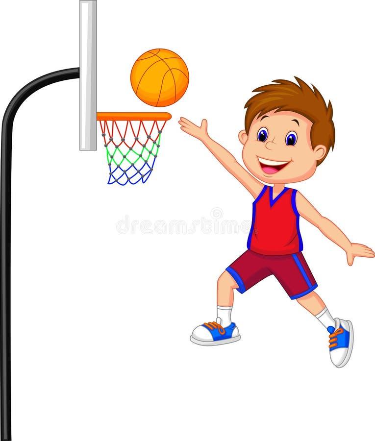 Kreskówki chłopiec bawić się koszykową piłkę ilustracja wektor