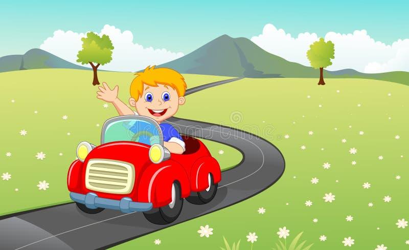 Kreskówki chłopiec jedzie samochód ilustracja wektor