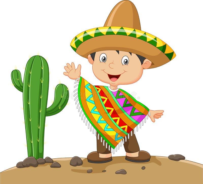 Kreskówki chłopiec jest ubranym meksykanin suknię royalty ilustracja