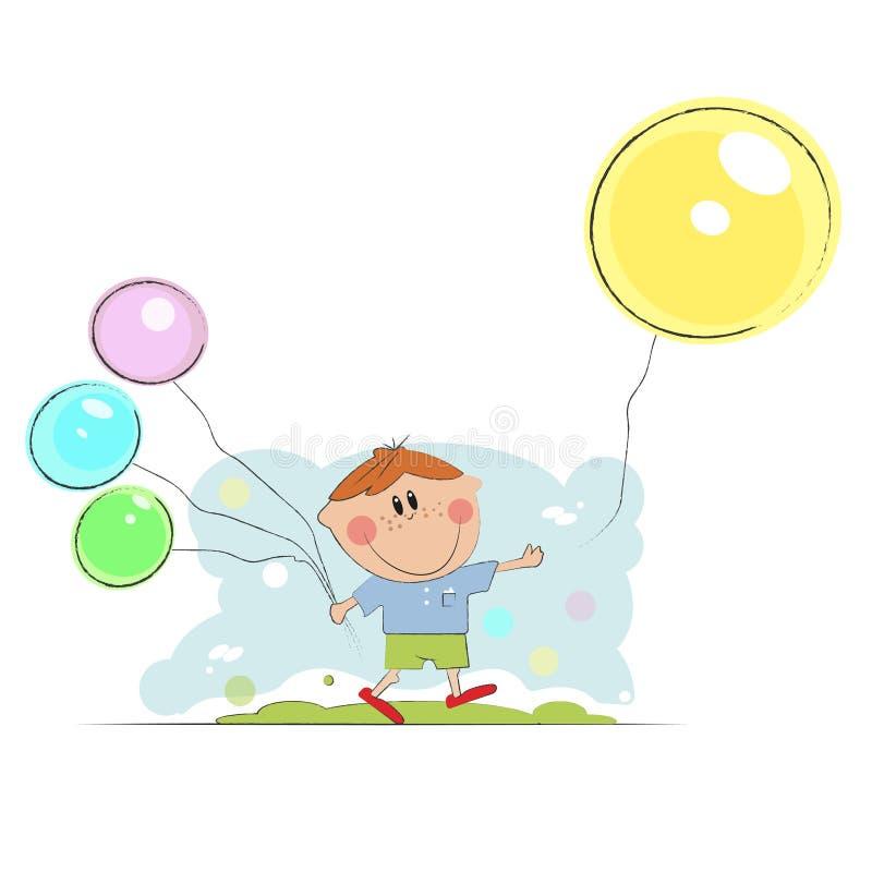 Kreskówki chłopiec mienia koloru balony ilustracji